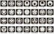 画像1: 【メール便送料込み】黒地用貼り紋(家紋シール) 6枚1組 (1)