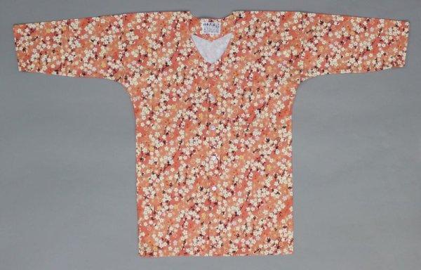 画像1: 鯉口シャツ【麻の葉に枝桜/オレンジ】大人用 男性女性兼用 赤系 (1)